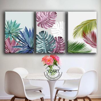 Nordic Style Canvas Painting Poster of Colourful Green Leaf Monstera Deliciosa Tropical Leaves Wall Art Room Decor