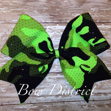 "3"" Neon Green Camouflage Camo Cheer Bow"