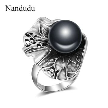 Nandudu Black Pearl Ring Antique Old Thai Silver Punk Vintage Rings Jewelry Fashion Retro Cocktail Party Ring for Women R2032