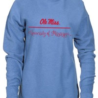 Official NCAA University of Mississippi Rebels Ole Miss Hotty Toddy Women's Boyfriend-Fit Vintage Looped and Pilled Herrington Crew Neck Fleece Full Sleeve Premium Sweatshirt
