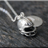 Silver Football Helmet Charm Necklace, Initial Charm Necklace, Personalized, Football Charm, Football Helmet Pendant, Football Fan Jewelry