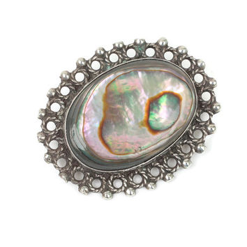 Abalone Shell and Sterling Pin Oval Fancy Setting Vintage