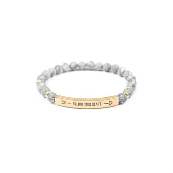 """""""Follow Your Heart"""" Natural Stone Stretch Bracelet"""