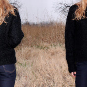 Vintage 80s Mohair Sweater Cardigan Black Cable Knit Lightweight Womens Medium