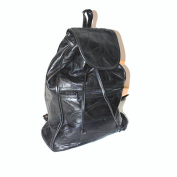 patchwork LEATHER backpack vintage 80s 90s GRUNGE mid sized slouchy black leather PACKSACK book bag