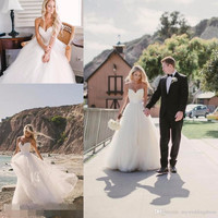 2016 Beach Summer Simple Wedding Dresses Sexy Plus Size Bridal Gowns Vintage Tulle Cheap A-Line Bohemian White Wedding Dress
