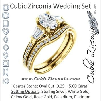 CZ Wedding Set, featuring The Hazel Rae engagement ring (Customizable Oval Cut Design with Quad Baguette Accents and Pavé Band)