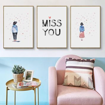 Bianche Wall Sweet Couple Abstract Watercolor Simple A4 Canvas Painting Print Poster Picture Wall Art Bedroom Home Decorative