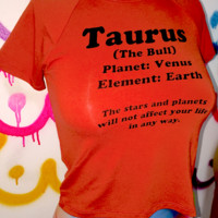 SWEET LORD O'MIGHTY! TAURUS CROP TEE IN BURNT