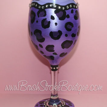 Hand Painted Wine Glass - Leopard Bling Purple - Original Designs by Cathy Kraemer