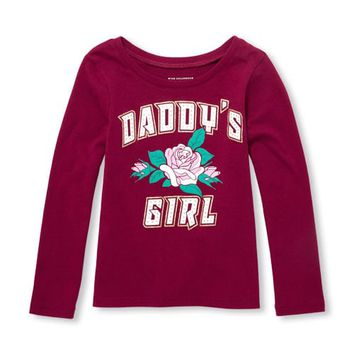 Baby And Toddler Girls Long Sleeve Glitter 'Daddy's Girl' Rose Graphic Tee