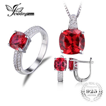 Jewelrypalace Created Ruby Ring Necklace Clip Earring Jewelry Se