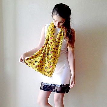 Yellow Glasses, shoes and bag  print scarf, spring scarf, light scarf