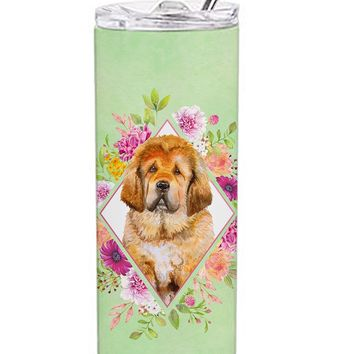 Tibetian Mastiff Puppy Green Flowers Double Walled Stainless Steel 20 oz Skinny Tumbler CK4349TBL20