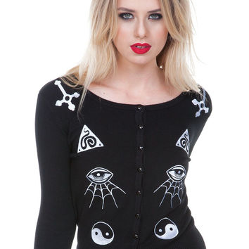 Jawbreaker Gothic Esoteric Alchemy and Occult Symbols Embroidery Cardigan