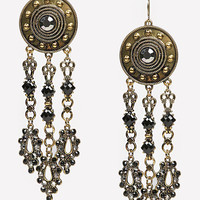 bebe Womens Disc & Triple Drop Earrings Black Gold
