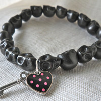 Sugar Skull Charm Stretch Bracelet Black Pink polka dots VS Charm Key heart
