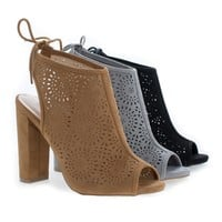 Morris25 By Wild Diva, Peep Toe Laser Perforated Heeled Mule Sandals