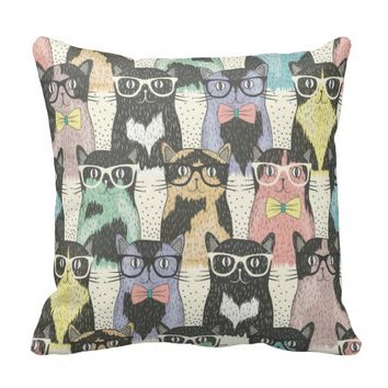 Fun,hipster,cat,pattern,trendy,cute,girly,modern, Throw Pillow