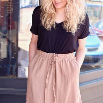 Mocha Fringe Fray Hi-Lo Skirt w/ Pockets