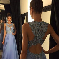 Custom Made A Line Round Neck Lace Prom Dresses, Lace Formal Dresses