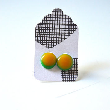 Stud Earrings - Neon Orange and Neon Green Stud Earrings - Tiny Stud Earrings - Post Earrings - Colorful Earrings - Handmade Enamel Studs