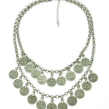 Bohemian Fringe Carving Flower Coin Statement Necklace Earring Set Jewelry Set (Size: 66 g, Color: Silver) = 1928826116