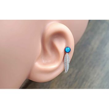 Feather Turquoise Blue Opal 16 Gauge Cartilage Earring (8mm Post) Tragus Monroe Helix Piercing You Choose Stone Size