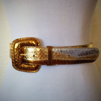 Vintage 70's Snakeskin Belt with Metallic Gold, Silver, and Bronze