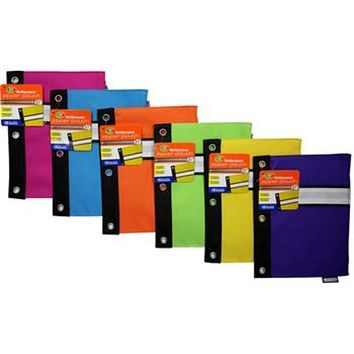 Discounted Bazic Bright Color 3-Ring Pencil Pouch 48 units