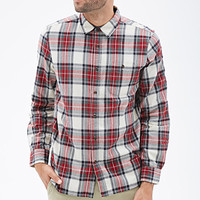 Classic Fit Plaid Shirt Cream/Red