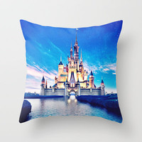 Disney Magic Castle Throw Pillow by Courtney Anchundia