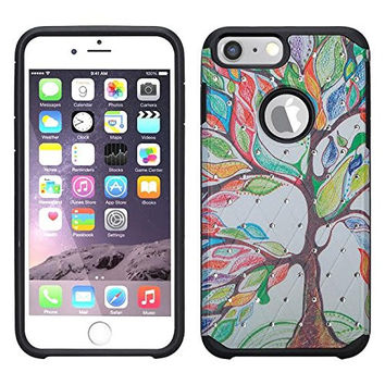 Apple iPhone 6S Plus Case / 6 Plus Case | Slim Hybrid Dual Layer Diamond Case for Iphone 6S Plus/6 Plus - Colorful Tree