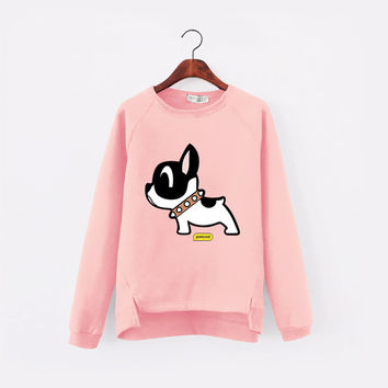 Korean Kawaii Harajuku Autumn Dog Pattern Women Sweatshirt 3D printed love pink Women Clothing Fleece Hoodie Plus Size