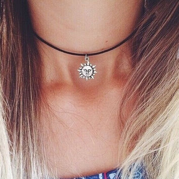 metal Sun necklaces for women/girls new arrival fashion jewelry daily chokers necklace pendants = 1946542276