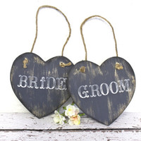 Bride & Groom Chair Signs or Photo Props - Rustic Weddings