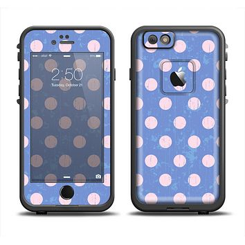 The Vintage Scratched Pink & Purple Polka Dots Apple iPhone 6 LifeProof Fre Case Skin Set