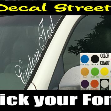 Custom Vertical Windshield Visor Decals 15 fonts to Choose from!