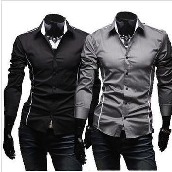 Long Sleeve Summer Slim Strong Character Men Casual Shirt [10831836163]