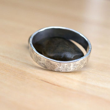Men's Ring, Sterling Silver Wedding Band, Hammered Ring, Rustic Band, Minimalist Ring, Contemporary Band, Ready to Ship, Textured Ring