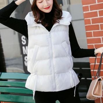 Womens Short Zipped Up Puffer Hooded Vest in White