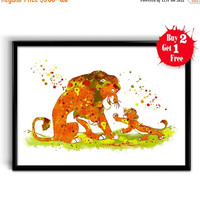 ON SALE 25% OFF The Lion King - Simba and Mufasa poster Disney watercolor print decor, Canvas print, Kids room wall decor