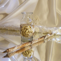 """Rustic Shabby Wedding Pen Set handmade of burlap, lace, glass jar and natural wood twig pen. """"Ready to Ship"""""""