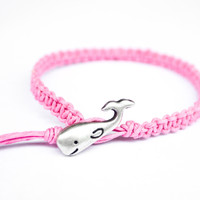 Whale Pink Hemp Friendship Bracelet