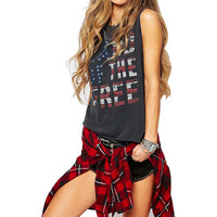 american apparel flag tank top cropped  sleeveless crop letter print star