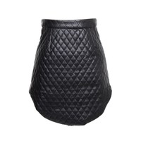 BLACK QUILTED ZIP SKIRT INSANE JUNGLE FAUX LEATHER