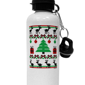 Tree with Gifts Ugly Christmas Sweater Aluminum 600ml Water Bottle