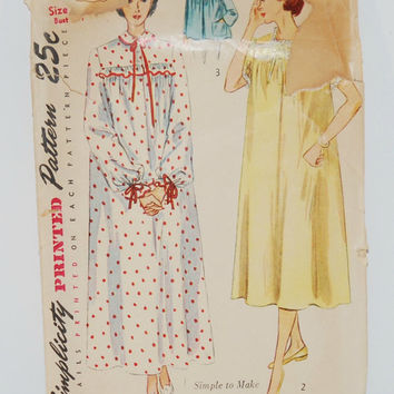 Simplicity Printed Pattern 3388 (c.1950) Misses' and Women's Nightgown in Two Lengths and Bed-Jacket, Retro Sleepwear, Size 16