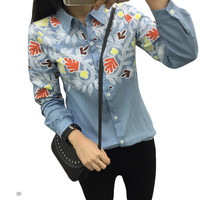 LIENZY 2016 Summer Vintage Women Denim Shirts Long Sleeve Polo Neck Slimming Floral Print Casual Women Shirts Women Clothes