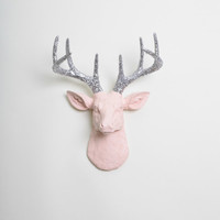 Cameo Pink Deer Head Wall Mount- The MINI Briley - Cameo Pink Resin w/Silver Glitter Antlers Deer Head- Deer Antlers Mounted- Faux Deer Head